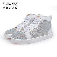 New Designers Women Casual Shoes Patchwork Bling Crystal Diamond Suede Upper Sneakers Lace Up Flat Rubber Heel Couple Shoes