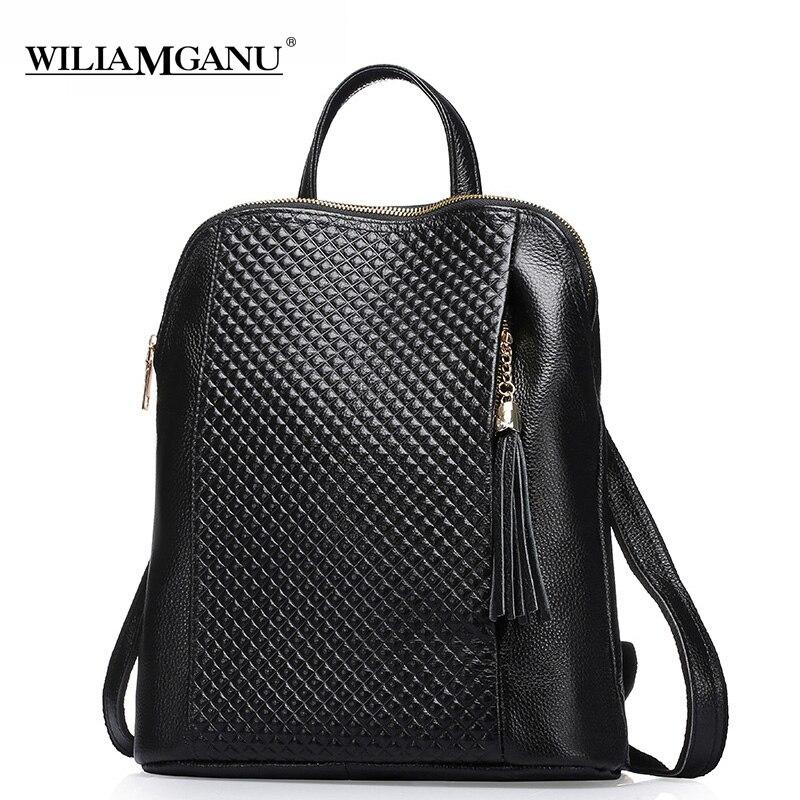 WILIAMGANU Genuine Leather Women Backpacks Fashion Woman Bags Plaid stripes Style Shoulder Backpack For Girls Black Blue 0718 цена 2017