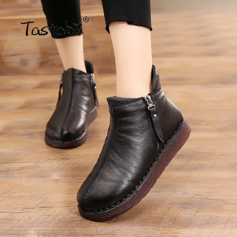 Tastabo Winter Boots Women Genuine Leather Ankle Boots Plush Inside Handmade Lady soft Flat shoes Casual Women's shoes craft джемпер мужской craft pace jersey