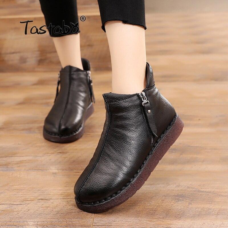 Tastabo Hiver Bottes Femmes En Cuir Véritable Cheville Bottes En Peluche À L'intérieur À La Main Lady souple Plat chaussures Casual chaussures de Femmes