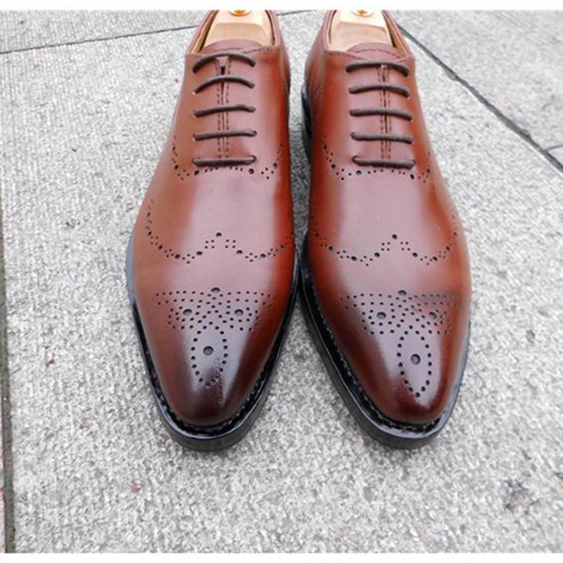 SP29 - Brogue or Wingtip Goodyear Craft for Fashion Man Bespoke Handmade Classic /Casual Oxford Shoes  Red Wine,  Free shipping