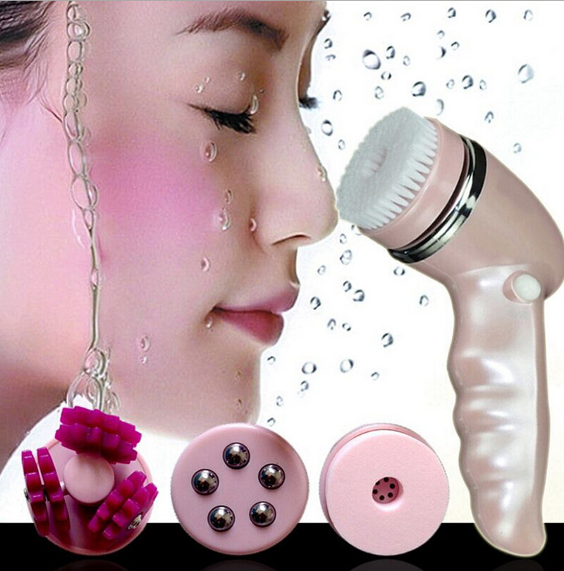 Electric Facial Cleanser Face Pore Cleansing Massager Brush Women Skin Cleaning Beauty Spa Blackhead Remover USB Charging Pink