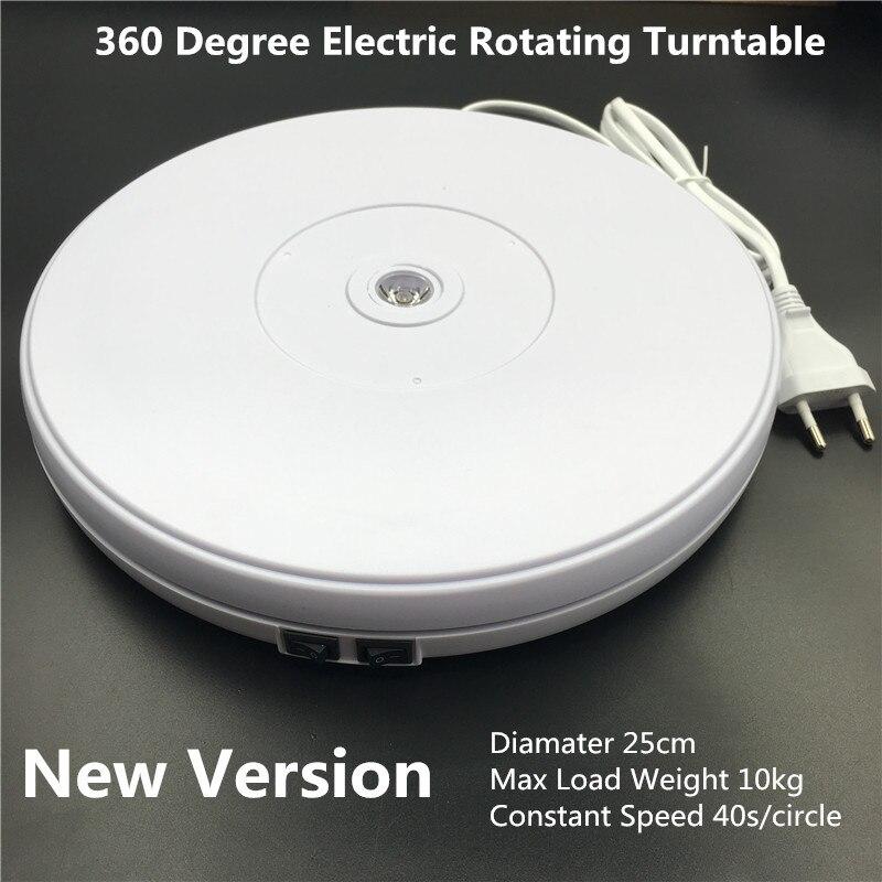 10 25cm Led Light 360 Degree Electric Rotating Turntable for Photography, Max Load 10kg 220V 110V