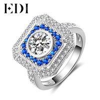 EDI Halo 6mm Round Cut Moissanite Diamond Ring For Women 14k 585 White Gold Natural Sapphire