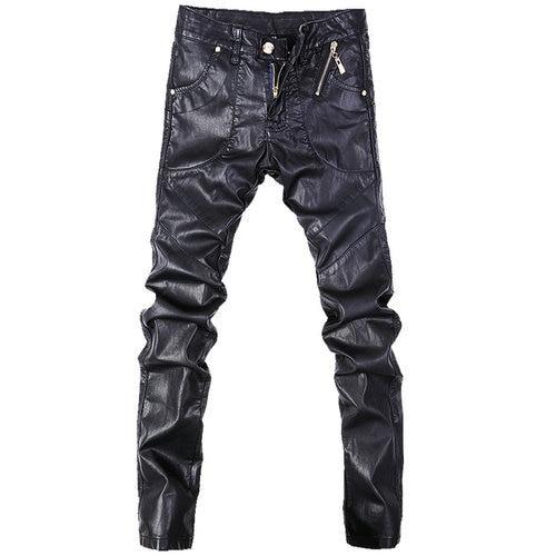 Модные мужские джинсы, обтягивающие кожаные мотоциклетные прямые брюки, размер 28-38, A102 - Цвет: Черный
