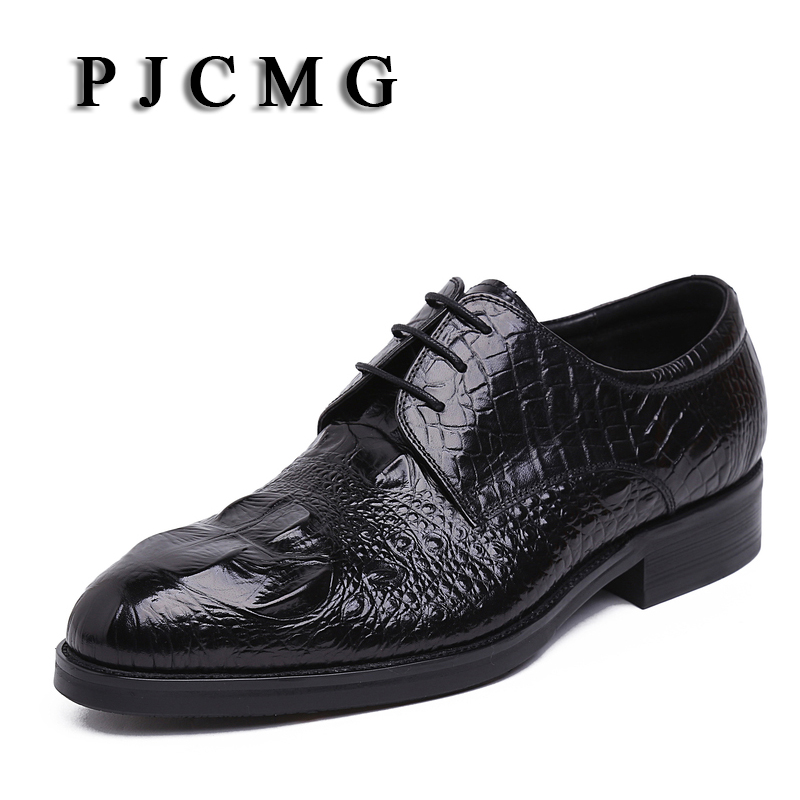 PJCMG New Products Men's Crocodile Pattern Genuine Embossed Leather Pointed Toe Lace-Up Cowhide Casual Flat Oxford Men Shoes