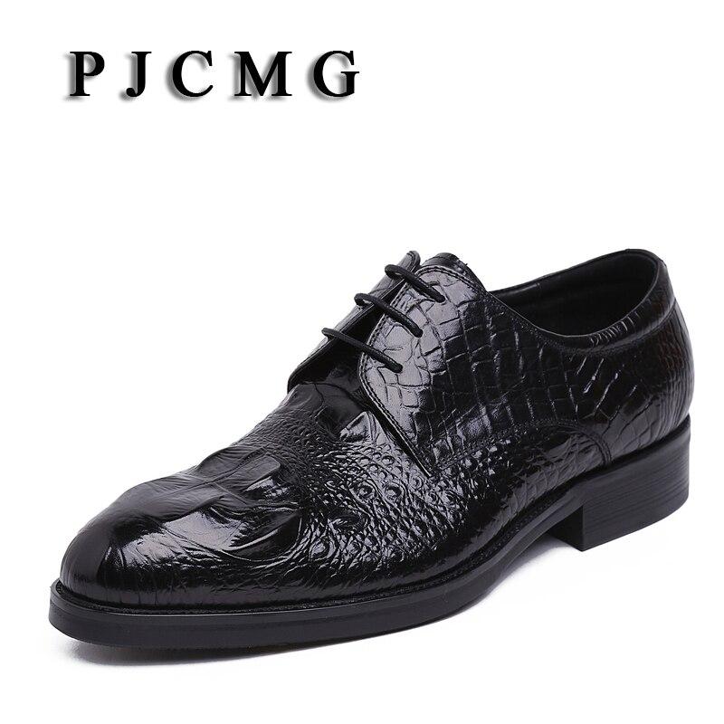 Plat Produits Bout Lacets Oxford red Pjcmg Pointu À Relief Cuir Vachette Occasionnel Black Hommes En Véritable Motif Crocodile Nouveaux Chaussures 5jq4AR3L