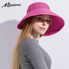 2018 New Spring Summer Visors Cap Beach Hats for Women Straw Hat Foldable Wide Large Brim Sun Vacation Tour Chapeau accessories