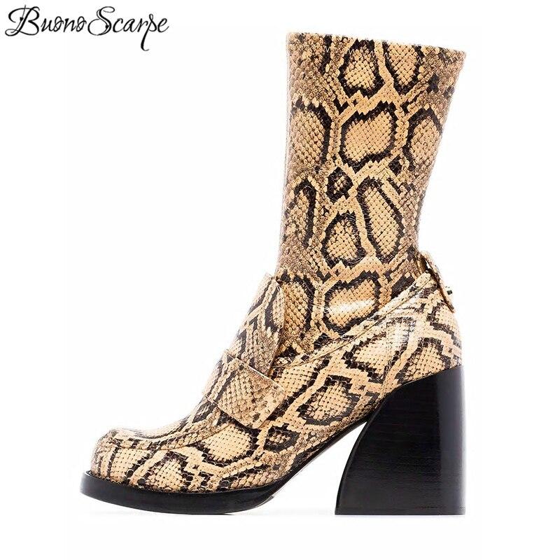 Buono Scarpe พิมพ์สัตว์ผู้หญิงรองเท้าหนังผู้หญิงรองเท้าหนัง Botas Fenimina งูพิมพ์ Botas Mujer Chunky รองเท้าผู้หญิง-ใน รองเท้าบู๊ทครึ่งน่อง จาก รองเท้า บน   1