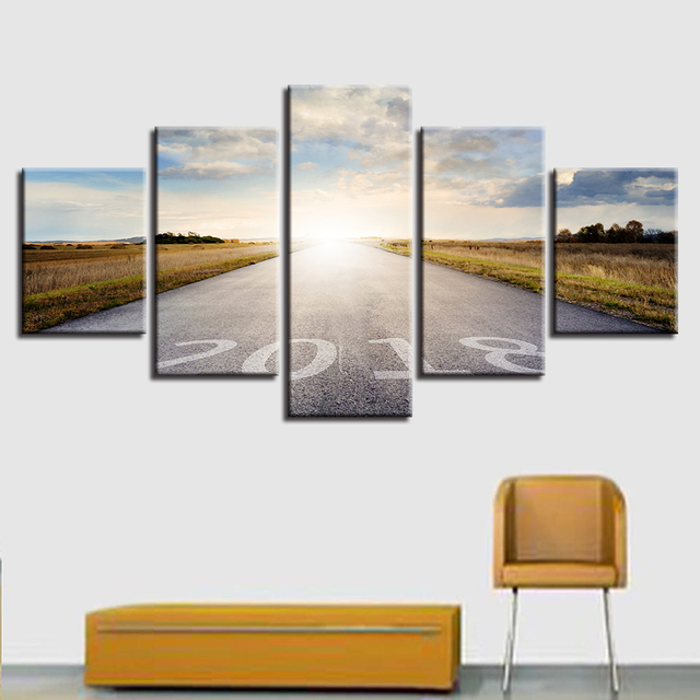 Art Painting HD Printed Canvas Frame Home Decor Modular 5 Panel ...
