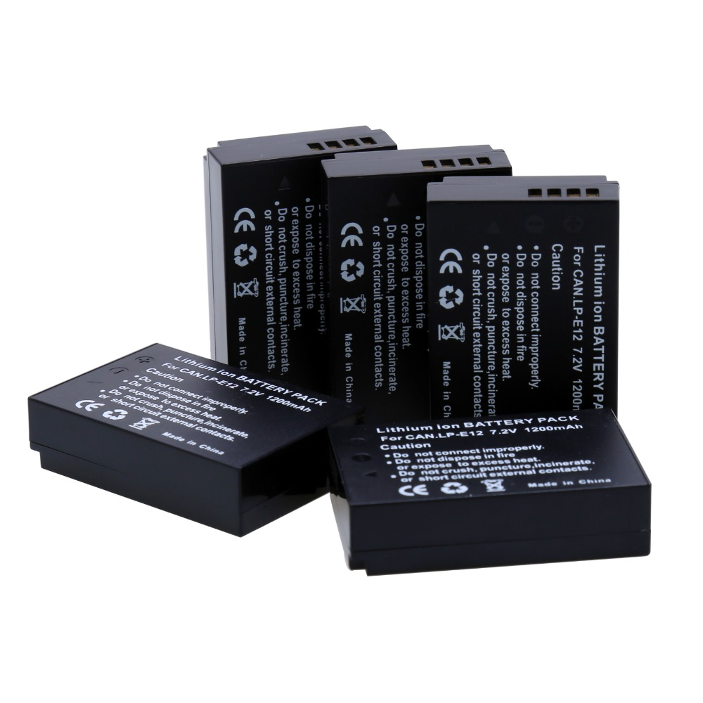5Pcs 7.2V 1200mAh LP-E12 LPE12 LP E12 Rechargeble Camera batteries for Canon EOS M M2 100D EOSM EOSM2 EOS100D