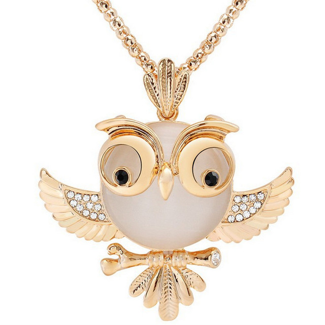 LNRRABC Women Sweater Chain Necklace Owl Design Rhinestones Crystal Pendant Necklaces Jewelry Clothing Accessories Drop Shipping 2