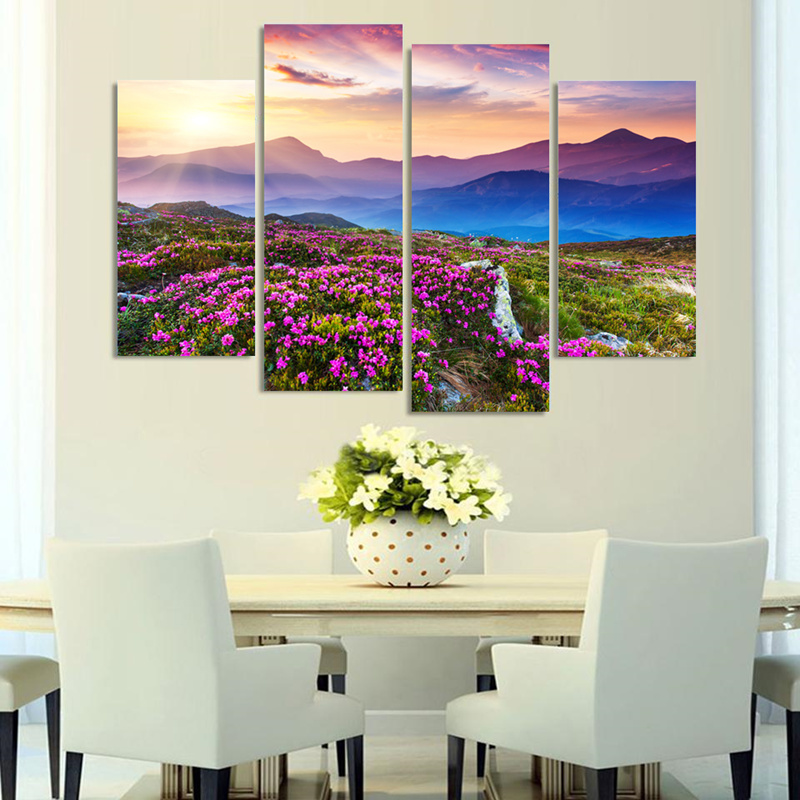 Sale Paintings 4 Pieces Modern Wall Painting Flowers Mountain Landscape Home Art Picture Paint On Canvas Prints Modular