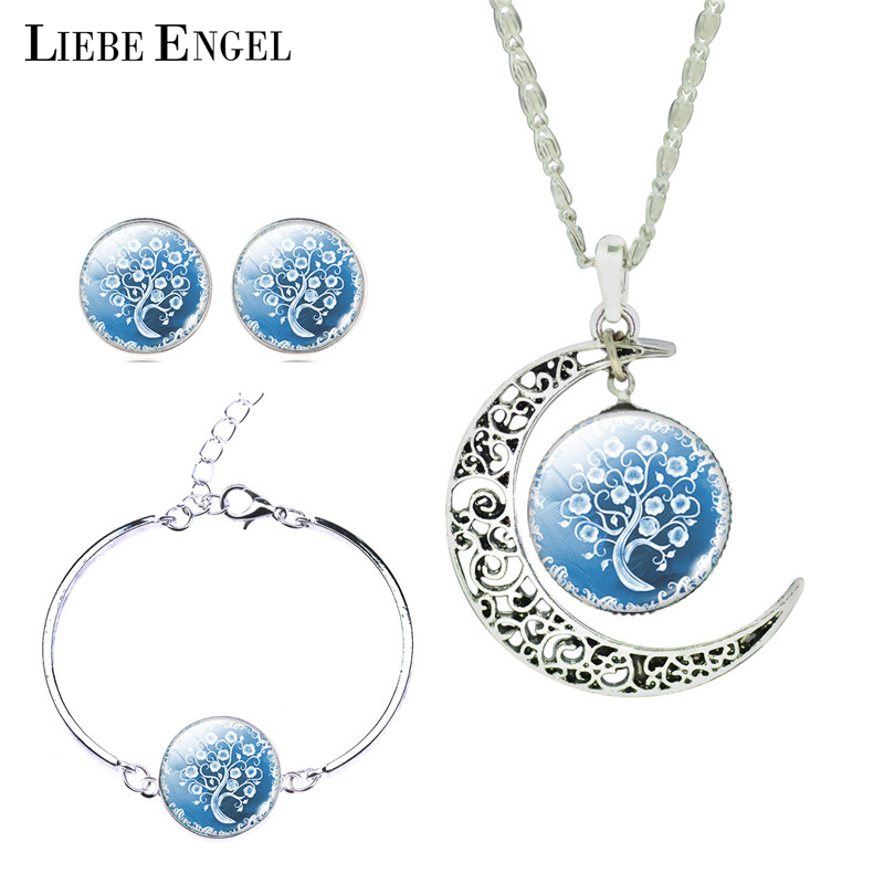 LIEBE ENGEL Wanita Baik Romantis Warna Silver Jewelry Set Pohon Gambar Kaca Bulan Pendant Kalung Stud Earrings Gelang Set
