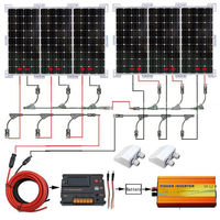 600W SOLAR SYSTEM 6X 100W MONO SOLAR PANEL W/ 3000W POWER INVERTER FOR HOME RV
