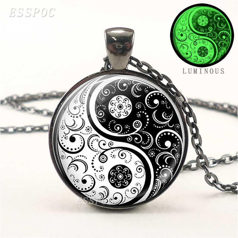 Yin Yang Luminous Necklace Black Chain Necklace Chakra Jewelry Men Women Glow In The Dark