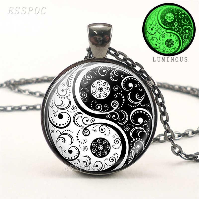 Yin Yang Luminous Necklace Black Chain Necklace Chakra Jewelry Men Women Glow In The Dark