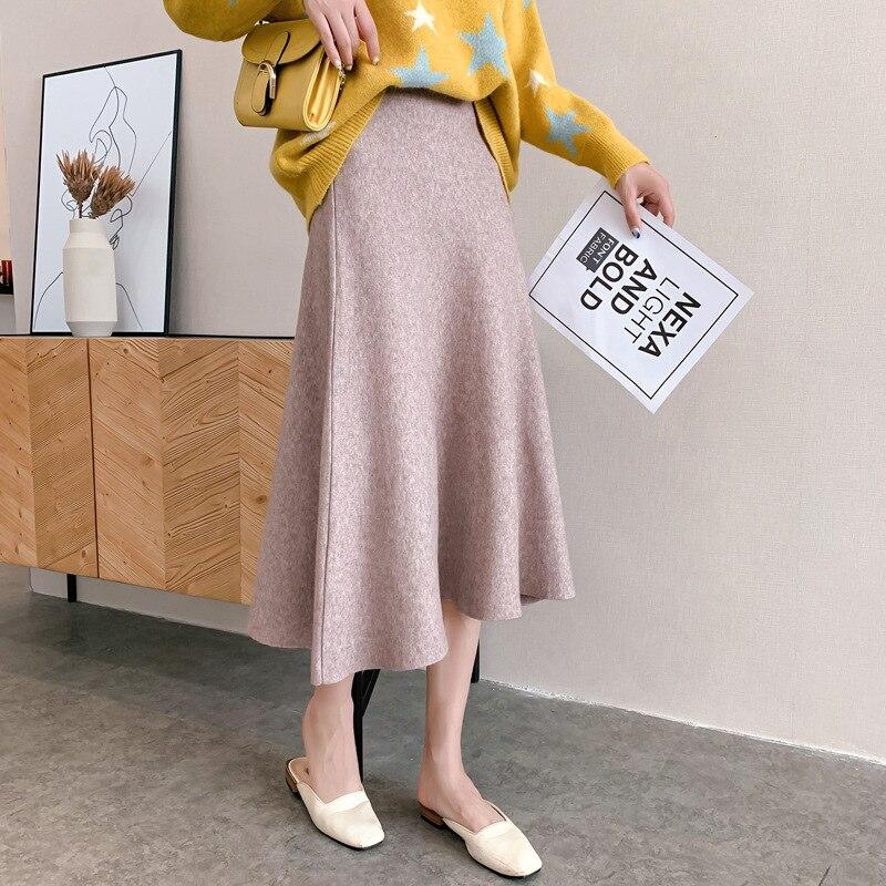 2019 Autumn Winter Soft Knitting Skirt Women Elegant High Waist Long Skirts Female High Quality  Warm Faldas Saia Jupe Femme