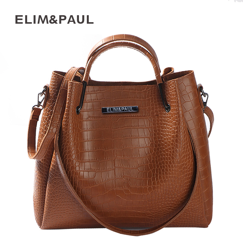 ELIM&PAUL Top-handle Bags Women Bag Large Capacity Fashion PU Leather Tote Shoulder Bag Female Designer Handbags Composite Bag fashion women handbags with two straps high quality pu leather top handle tote bag female large capacity shoulder messenger bags