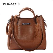 ELIM&PAUL Top-handle Bags Women Bag Large Capacity Fashion PU Leather Tote Shoulder Bag Female Designer Handbags Composite Bag