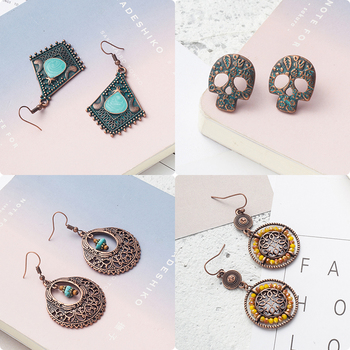 Women Multiple Kinds Vintage Antique Alloy Drop Earrings Skull Leaf Anchor Dangle Earrings Hanging Casual Jewelry Accessories
