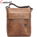 CONTACT'S Famous Brand Men Crossbody Bag Men's Genuine leather Messenger Shoulder Bags Casual Male Briefcase Brown Bag Designer