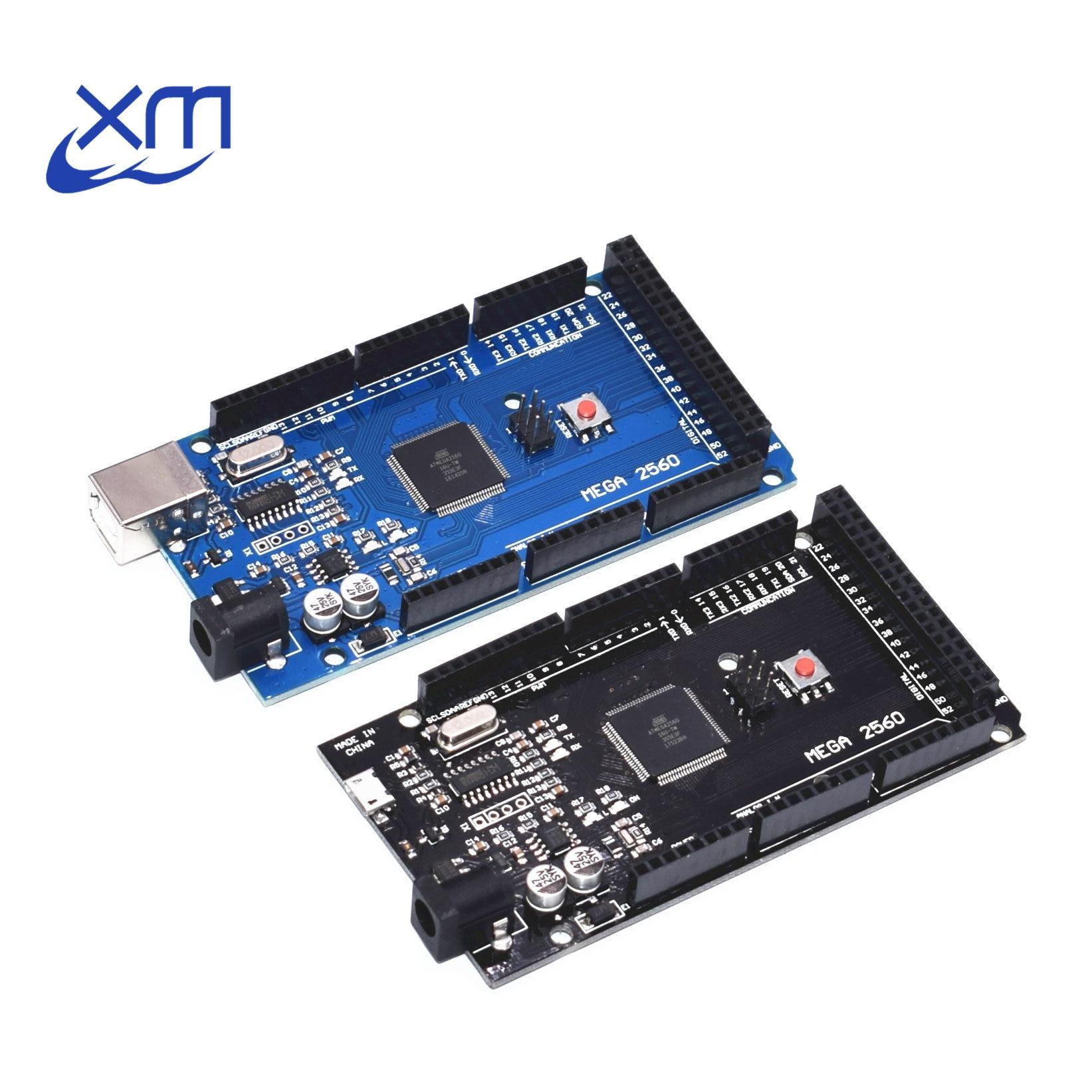 ¡1 unids Mega 2560 R3 CH340G/ATmega2560-16AU MicroUSB! Compatible para Mega 2560 con cargador de arranque (azul/negro) para Arduino