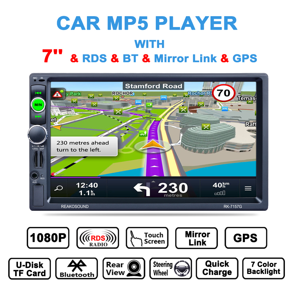 7 HD LCD 2 Din In-dash Bluetooth Handsfree GPS w/ Map Touch Screen Car Mp5 Player RDS FM Radio AUX Mirror Link USB Car-charger in dash car gps mp5 player with 7 hd 2 din touch screen bluetooth steering wheel control support tf usb aux fm radio 7021g