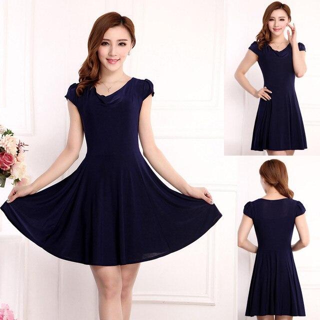 24d6aea5c06 Plus size Woman clothing Black dress 2015 new Women s O-Neck Short sleeve  Casual dress Temperament Slim Summer Chiffon Dress XXL
