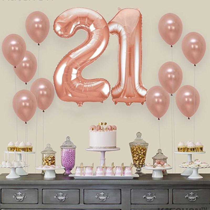 WEIGAO 13pcs Rose Gold Balloon Kit 18/21th Birthday Balls Sweet 16 Adult 30/40/50th Birthday Balloons Anniversary Foil Balloons