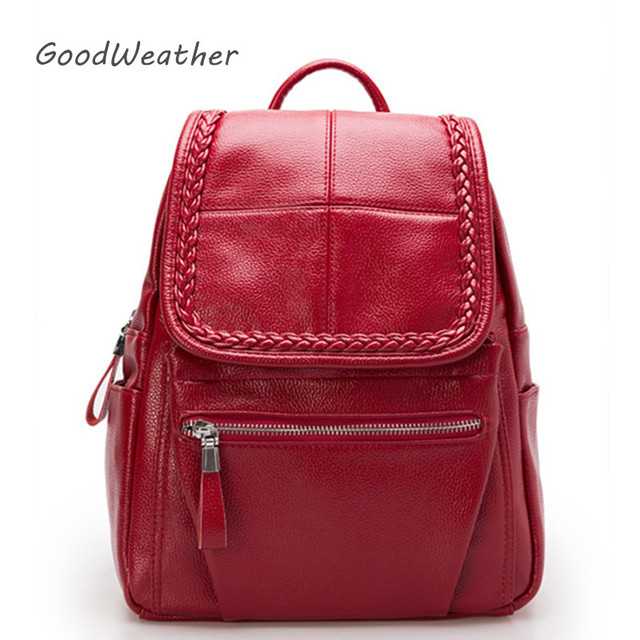 4ae0ad0f4a Fashion ladies backpack designer small red PU leather backpacks for woman  Korean style shoulder bag 4colors