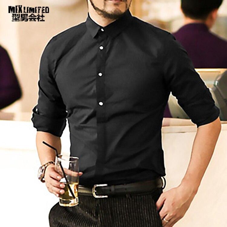 2018 nueva moda Otoño moda hombres ropa slim fit hombres camisa de manga  larga hombres algodón sólido casual Camisa de los hombres c81f4767833