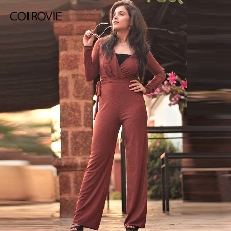 COLROVIE Brown Solid V-Neck Plunging Neck Self Belted Wrap   Jumpsuit   2019 Spring Long Sleeve Office Lady Wide Leg Sexy   Jumpsuit