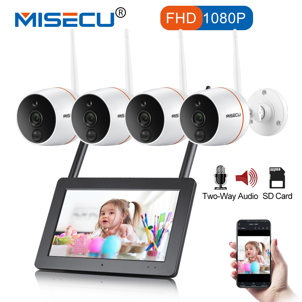 MISECU Touch Screen NVR Security Camera WIFI CCTV System 1080P Outdoor Waterproof Wireless IP Camera PIR SD Card Audio Record k808 4gb records 20h waterproof cctv security camera dvr pir video record camera intellgent sd card cctv camera motion detected