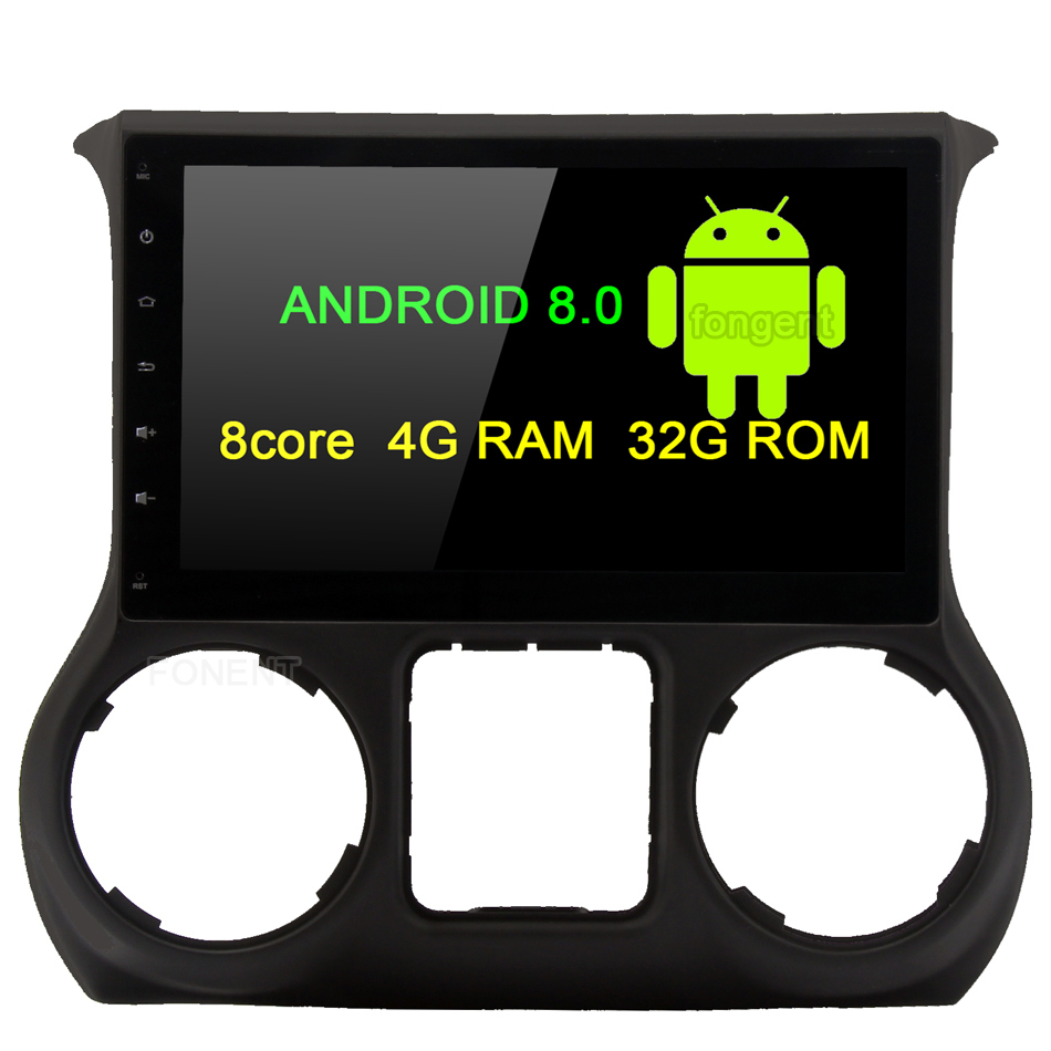 Fongent 10.2 Android 8.0 Car GPS Radio Player for Jeep Wrangler 2011 2012 2013 2014 2015 2016 Octa Core Stereo Multimedia