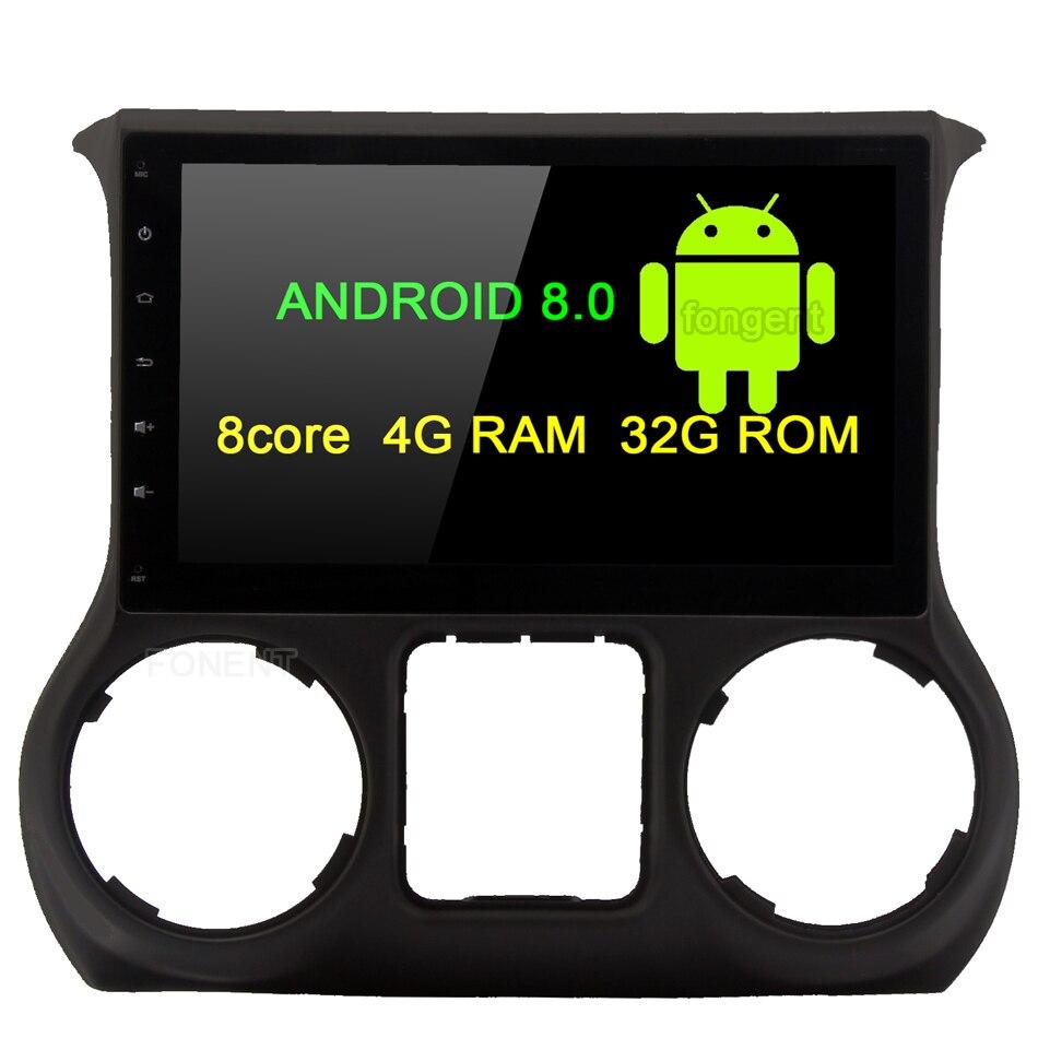 Fongent 10.2 Android 8.0 Voiture GPS Radio Lecteur pour Jeep Wrangler 2011 2012 2013 2014 2015 2016 Octa Core stéréo Multimédia