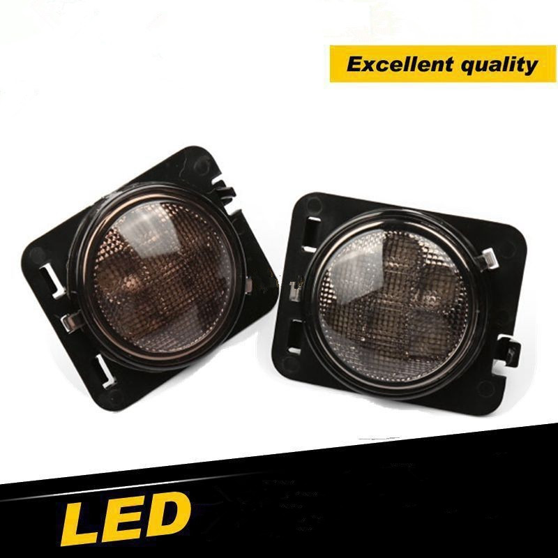 2x Smoke Lens Amber LED Car Fender Turn Signal Lights For Jeep Wrangler Jk 07 16