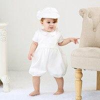 DMfgd Infant Romper Clothing sets Maggie version of European baptism boys baby full moon months wine lingerie hat suit set