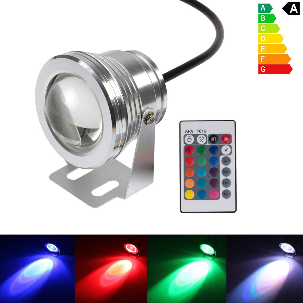 Wholesale 10W RGB LED Underwater Light 1000LM DC12V Waterproof IP68 LED Swimming Pool Pond Fountain Lamps Free shipping