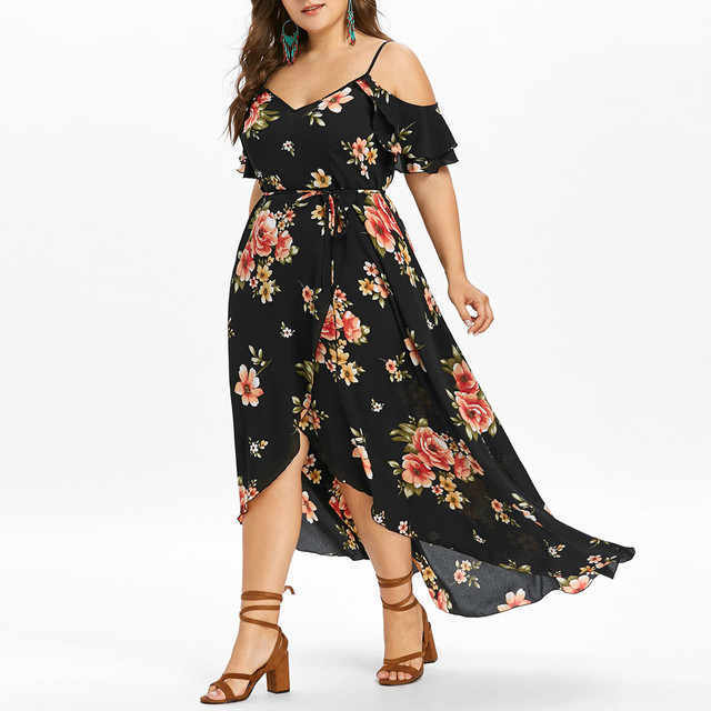 30h Plus Size Summer Dress Casual Short Sleeve Woman Dress Cold Shoulder Boho plus size Flower Print Long Dress платье robe 1