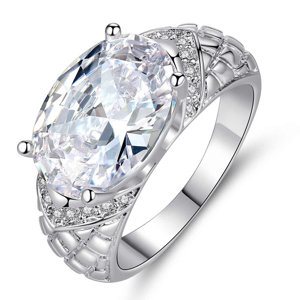 Dovolov แฟชั่นเงินคริสตัลแหวนคริสตัล Zircon Statement แหวนผู้หญิงเครื่องประดับ B502