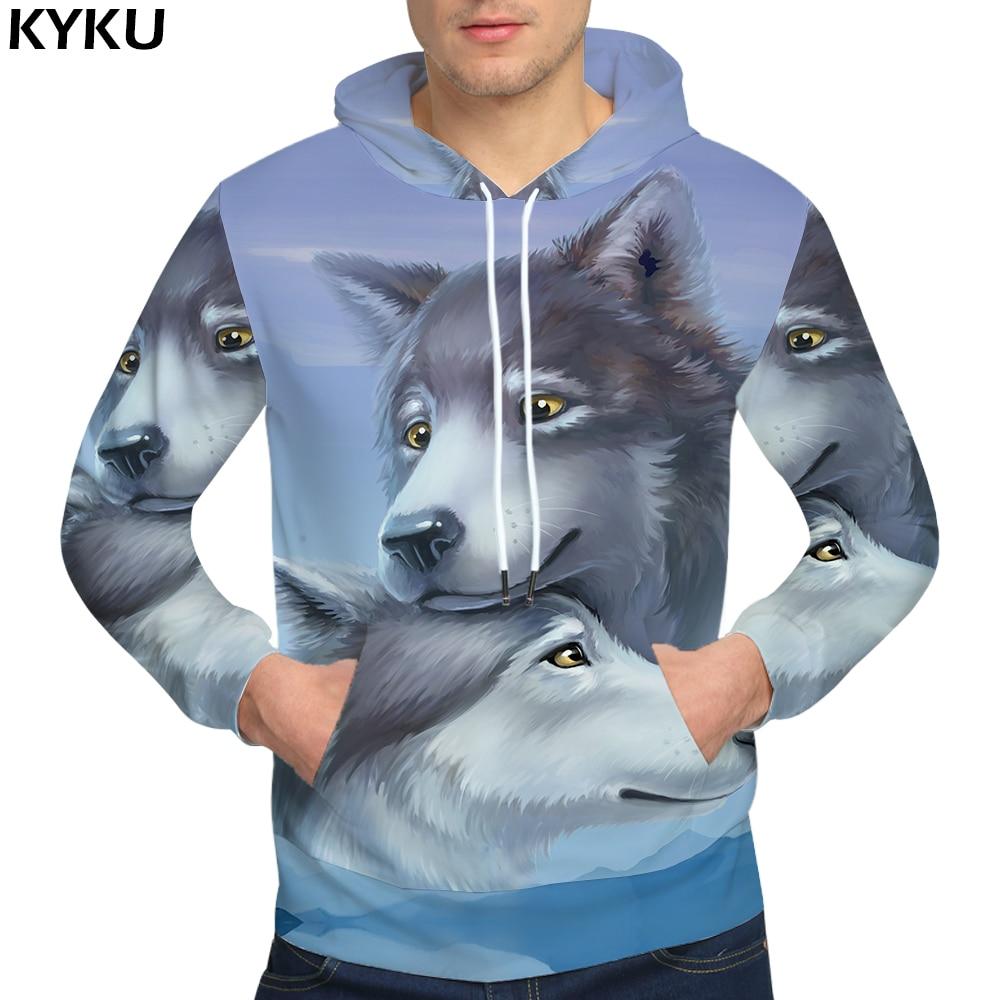 KYKU Brand Wolf Sweatshirts Mountain Hoodie Funny 3d hoodies Love Sweatshirts Male 3D Sweat shirt Clothing Men Print Winter