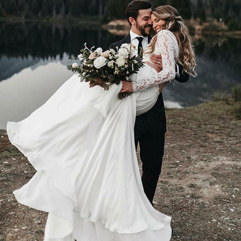 LORIE 2019 Newest Two Pieces Wedding Gown Boho Wedding Dress Long Sleeves A Line White Ivory Chiffon Lace Princess Beach Bride
