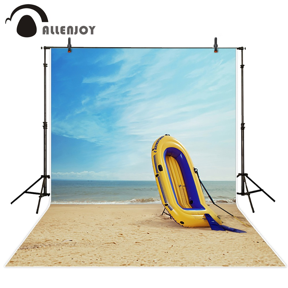 Allenjoy 300*200cm(10ft*6.5ft) Inflatable boats flippers beach photography backdrops photography 300 200cm 10ft 6 5ft photography backdrops scattered horse petal branch