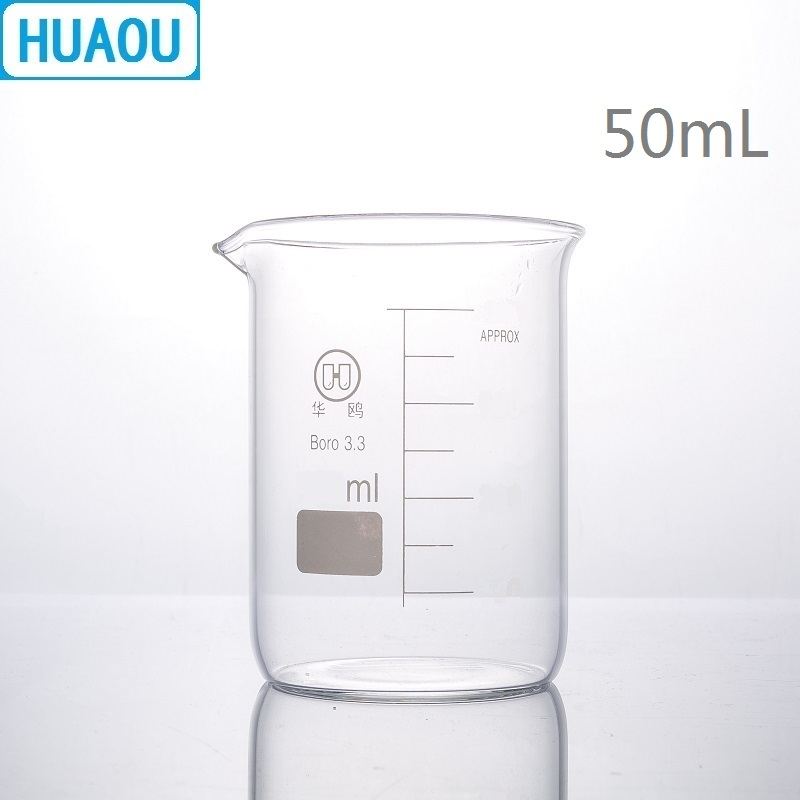 HUAOU 50mL Glass Beaker Low Form Borosilicate 3.3 Glass With Graduation And Spout Measuring Cup Laboratory Chemistry Equipment