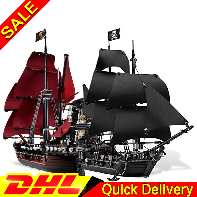 LEPIN Pirates 16006 Black Pearl +16009 Caribbean Queen Anne's Reveage Model Building Kits Blocks Bricks Toys Clone 4184 4195 free shipping new lepin 16009 1151pcs queen anne s revenge building blocks set bricks legoinglys 4195 for children diy gift