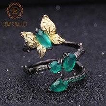 Gems BALLET 천연 녹색 마노 나비 반지 925 스털링 실버 빈티지 반지 여성 보석에 대한 원래 수제 Bijoux