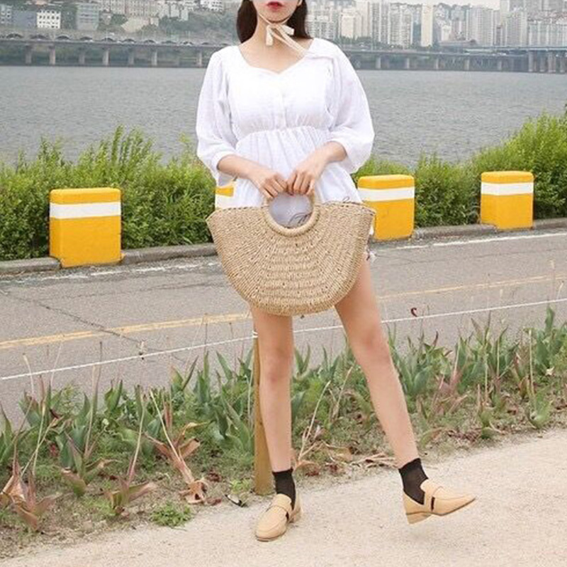BRIGGS New 2018 Summer Beach Bag Hand Woven Straw Bags Fashion Women Casual Tote Large Capacity Shopping Bags Women Handbags 5