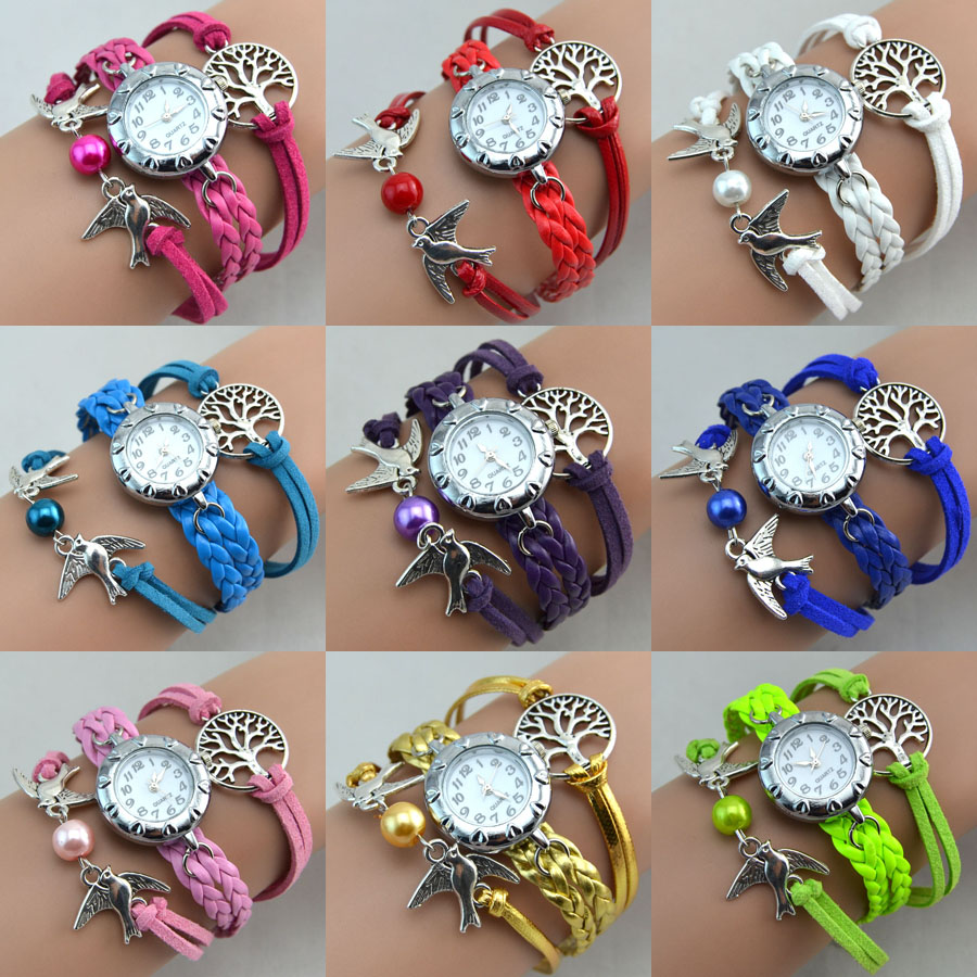 Wholesale Fashion Suede Fabric Wrap Bird Tree Bead Pearl Bracelet Automatic Digital Laies Watch