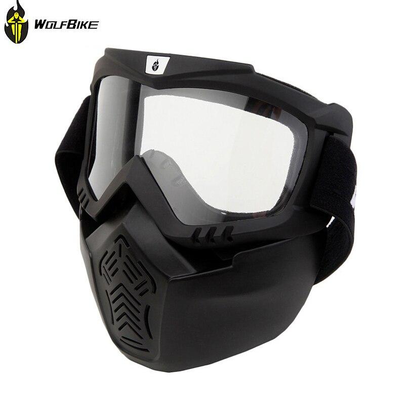 WOLFBIKE Велоспорт мотоциклетные Лыжный Спорт шлем очки съемная маска объектив Анти-туман очки и рот фильтр для открытого Уход за кожей лица шл...